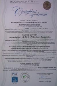 Certyfikat zgodności ekologicznej